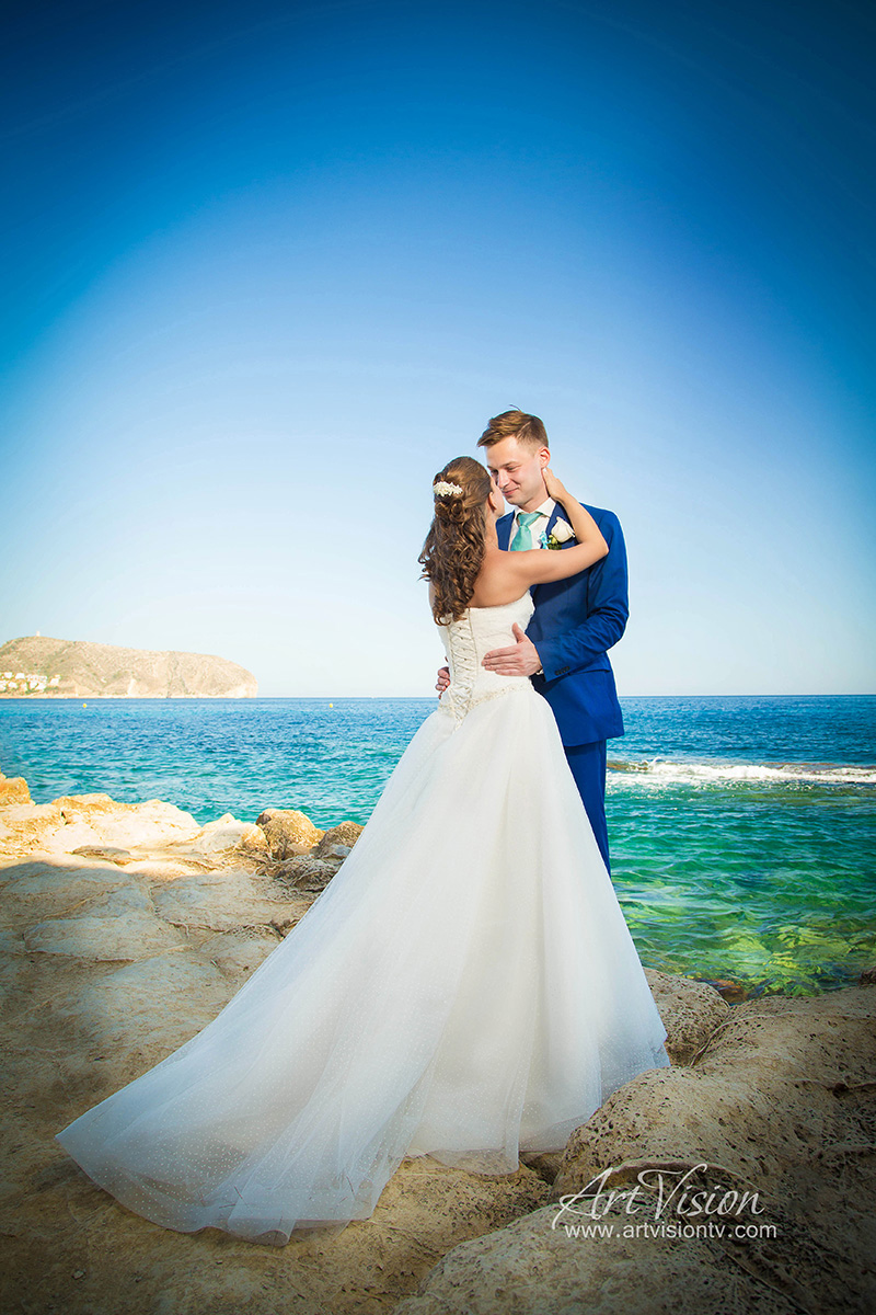 Wedding Photo Session in sea. Spain, Costa Blanca, Moraira.